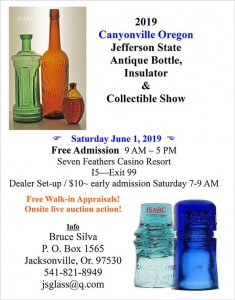 2019 Canyonville Oregon Jefferson State Antique Bottle & Insulator Expo @ Seven Feathers Casino Resort