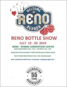 Reno Antique Bottle Club hosts their 55th Annual Bottle & Collectibles Show & Sale @ Sparks Convention Center