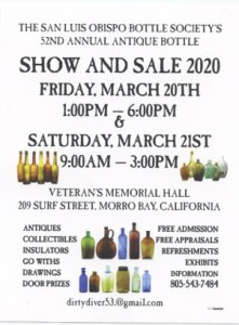 52nd Morro Bay Antique Bottle Show @ Morro Bay Veterans Memorial Hall