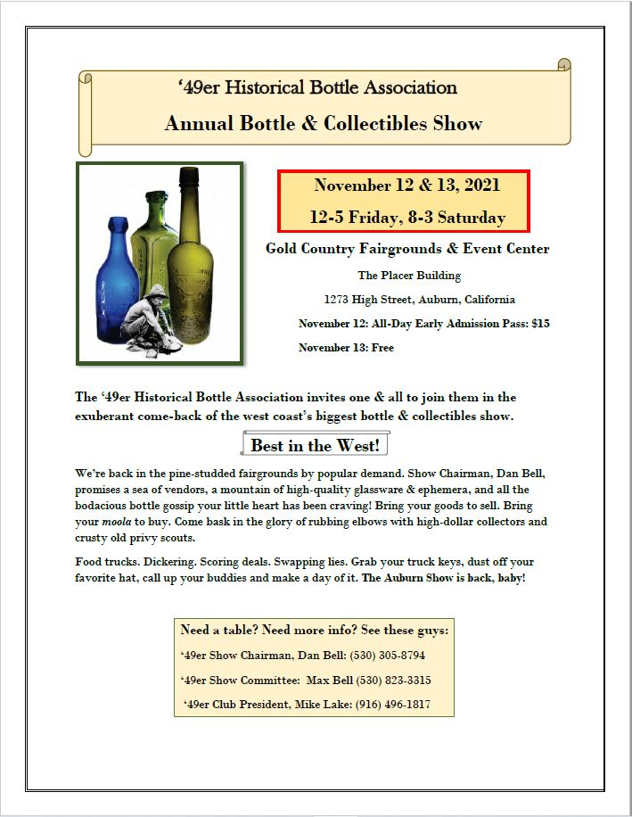 """49er Historical Bottle Association's """"Best of the West"""" 2021 Antique Show @ Gold Country Fairgrounds & Event Center, The Placer Building"""